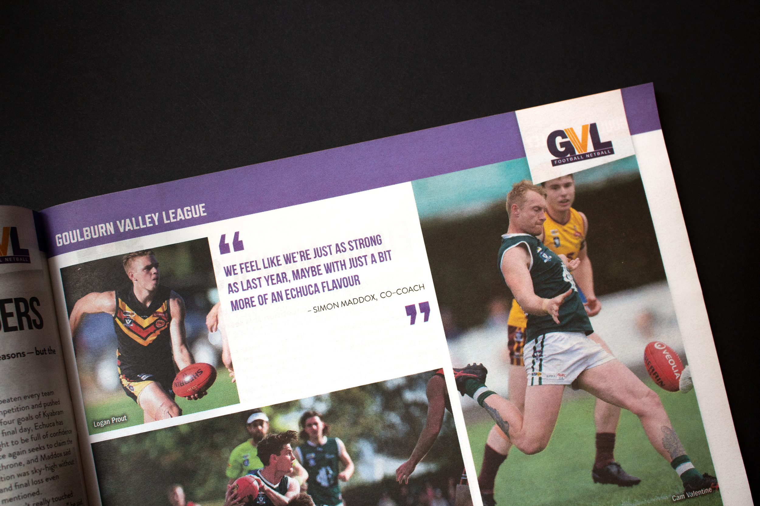 Football NEtball Magazing spread