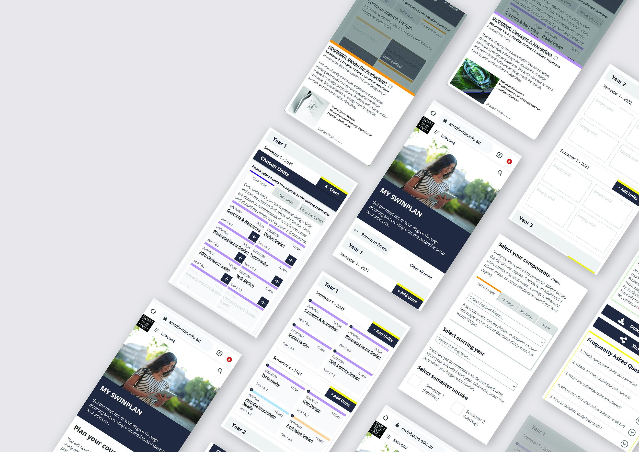 Multiple screens showing the My Swinplan Mobile app