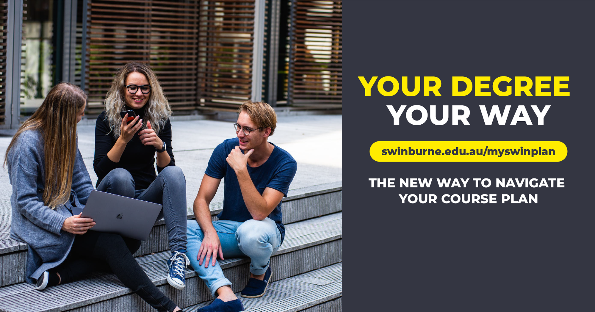 Ad showing students discussing their course plans at Swinburne University